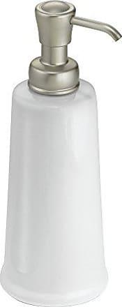 InterDesign York Ceramic Liquid Soap Dispenser Pump for Kitchen or Bathroom Countertops, White/Satin