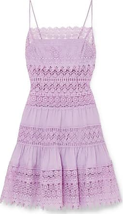 Charo Ruiz Ibiza Joya Crocheted Lace-paneled Cotton-blend Mini Dress - Lilac