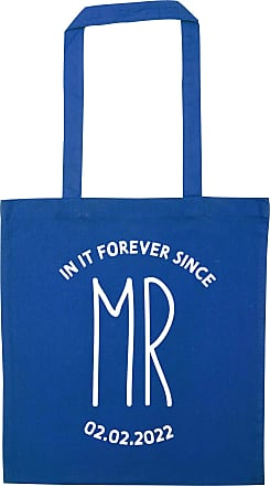 Flox Creative Blue Tote Bag Mr In It Forever Since Personalised Date