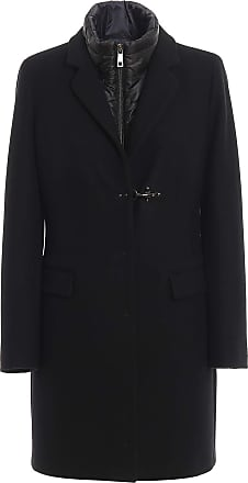 Fay Wool Blend Coat with Detachable Vest, S Black