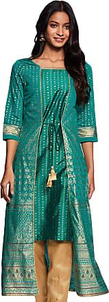Aurelia Womens Rayon a-line Kurta (19AUA10951-500819_ Green_ Large)