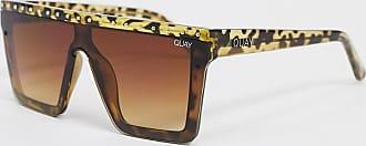 Quay Hindsight - Sonnenbrille mit flachem Brauensteg in Schildpatt-Optik-Braun