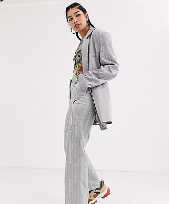 Collusion jacquard straight leg trousers with detachable chain-Grey