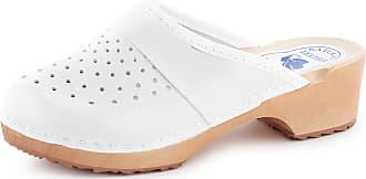 Ladeheid Women´s Wood Shoes Clogs Flipflops LABR307 (White, 6.5 UK)