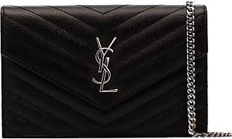 Saint Laurent Bolsa carteira Envelope de couro com alça em corrente - Preto