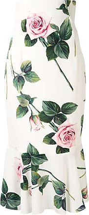 Dolce & Gabbana Saia midi com estampa de rosas tropicais - Branco