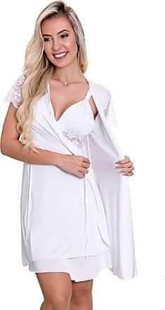Estilo Sedutor Camisola Amamentação Com Robe em Liganete Branca - ES206-207