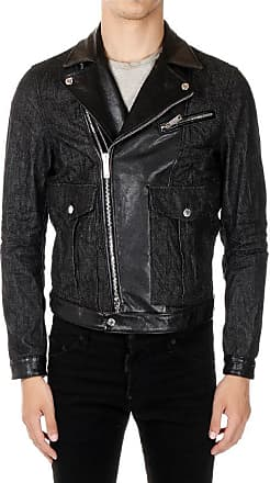 Dsquared2 Denim Biker Jacket with Details in Leather size 52