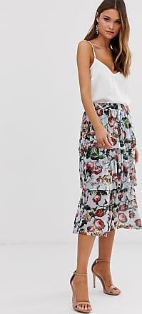 Ichi Lagenrock mit Blumenprint-Mehrfarbig