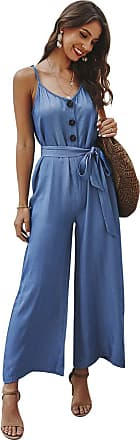NA Women Jumpsuit Summer Baggy Wide Leg Sleeveless Romper Loose Casual Camisole Strap Strappy Bodysuit Party Elegant Onepiece Beachwear Blue