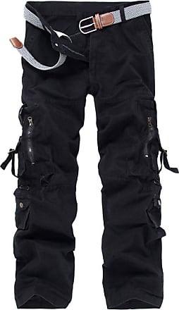 OCHENTA Mens Military Wild Combat Loose Cotton Cargo Multi-Pocket Pants with 8 Pockets 03 Black 31