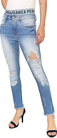 Lança Perfume Calça Jeans Lança Perfume Slim Destroyed Azul