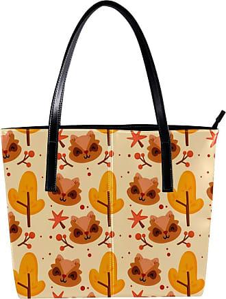 Nananma Womens Bag Shoulder Tote handbag Zipper Purse Top-handle Zip Bags - Autumn Tree Pattern Fox
