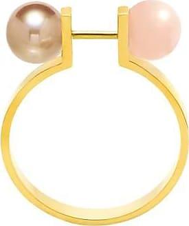 Misaki Bague fine Bell rose dorée avec perle bronze - taille 50
