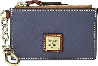Dooney & Bourke Pebble Zip Top Card Case (Midnight Blue/Tan Trim) Credit card Wallet