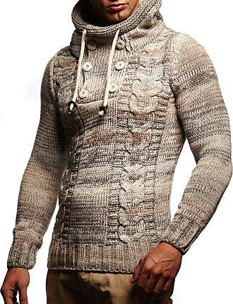 LEIF NELSON Mens Pullover Knit Sweater Hooded Hoodie LN-20227 Beige XXXX-Large