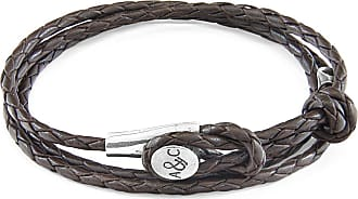 Anchor & Crew Dark Brown Dundee Silver and Braided Leather Bracelet - One size fits all