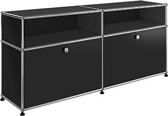 USM Sideboard mit 2 Klapptüren + 2 Fächer - graphitschwarz RAL 9011/102x37x56,5cm