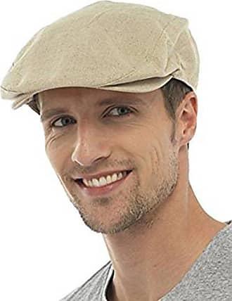 Tom Franks Mens Cotton Linen Lightweight Vintage Style Flat Cap - Beige - Large-X-Large
