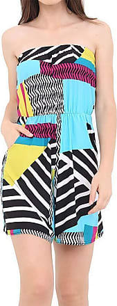 Islander Fashions Womens Boobtube Bardot Off Shoulder Short Jumpsuit Ladies Fancy Printed Playsuit Abstract Medium/Large UK 12-14