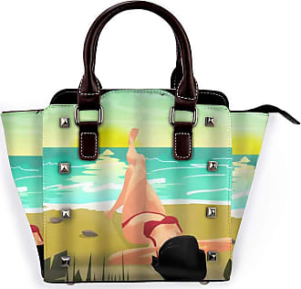 Browncin Summer Beach Palms Private Sunset Woman In Red Bikini Sunbathing Detachable Fashion Trend Ladies Handbag Shoulder Bag Messenger Bags