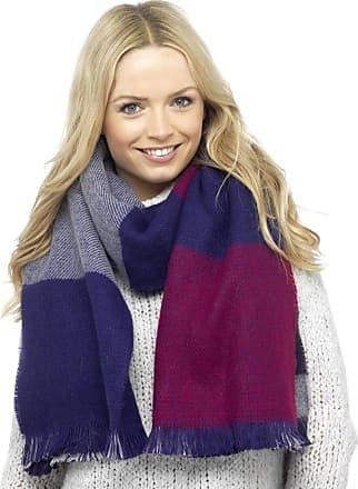 Foxbury Ladies Checked & Striped Reversible Blanket Scarf Blue