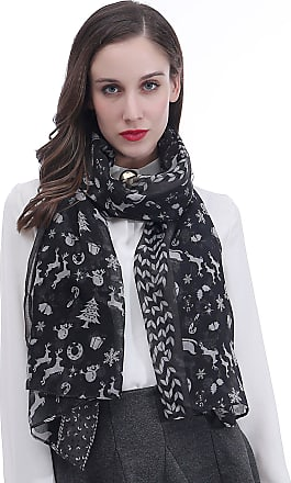 Lina & Lily Christmas Santa Sleigh Reindeer Snowman Tree Print Womens Large Scarf Lightweight (Black)