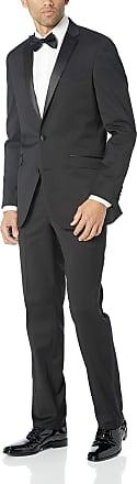 Kenneth Cole Reaction Mens Satin Lapel Tuxedo, Black, 44 Long