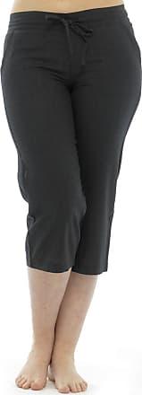 Tom Franks Ladies 100% Linen Cotton Summer 3/4 Three Quarter Length Cropped Trousers Bottoms Pants Tie Waist Black