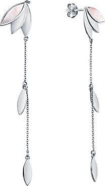 Misaki Boucles doreilles pendantes Mirage rhodiées avec nacre blanche