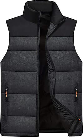 NPRADLA Mens Autumn and Winter New Plus Size Thickening Warm Casual Fashion Button Vest Sleeveless Top Coat Dark Gray