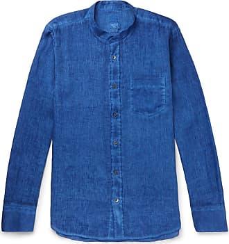 120% CASHMERE Grandad-collar Slub Linen Shirt - Blue