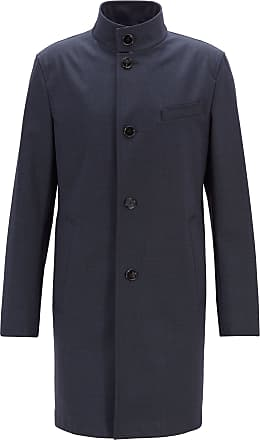 BOSS Slim-fit coat in stretch fabric with stand collar