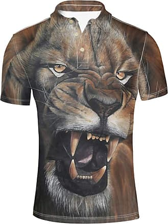 Hugs Idea Mens Animal T Shirts Lion Face Pattern Summer Short Sleeve Collars 3 Buttown Graphic Tee Tops