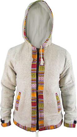 Gheri Mens Ofal Cotton Fleece Lined Ethnic Nepalese Full Zip Winter Jacket Hoodie Light Grey X-Large