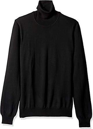 J.Lindeberg Mens Merino Wool High Neck Sweater, Black, Large