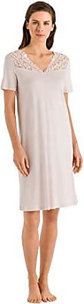 Hanro Womens Moments Short Sleeve Gown, Beige Large
