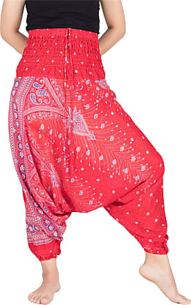 Lofbaz Womens Peacock 2 in 1 Harem Trousers Jumpsuit Red & Blue M