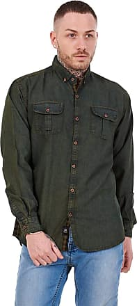 JD Williams Mens Regular Denim Shirt Cotton Enzyme Powder Wash Flap Pocket Casual Top M-XXL Khaki Green