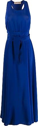 Blanca Vestido longo com cinto - Azul
