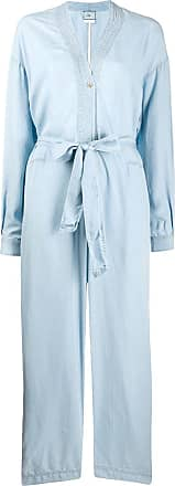 Forte_Forte tie waist long-sleeved jumpsuit - Blue