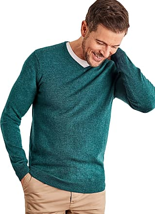 WoolOvers Mens Cashmere and Merino V Neck Jumper Deep Teal Marl, M