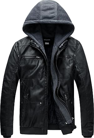 Wantdo Mens Faux Leather Jacket Detachable Hood Coat Black XX-Large