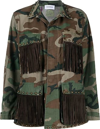 P.A.R.O.S.H. fringed camouflage-print military jacket - Brown