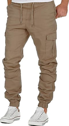 TOMWELL Mens Trouser Cargo Chino Classic Fit Casual Work Pants Casual Sports with Elastic Waistband Combat Autumn Spring Bottoms Fashion Khaki Large
