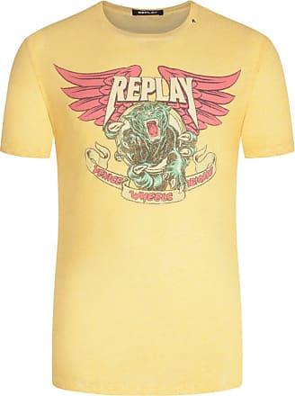 Replay Übergröße : Replay, T-Shirt im Used-Look in Gelb für Herren