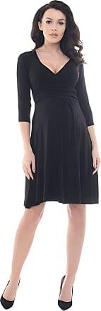 Purpless Maternity Classic Pregnancy Dress Vneck A line D4400 (14, Black)