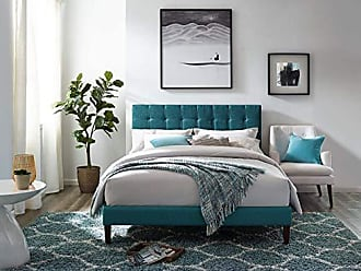 ModWay Paisley Upholstered Tufted Linen Fabric Twin Headboard Size in Teal