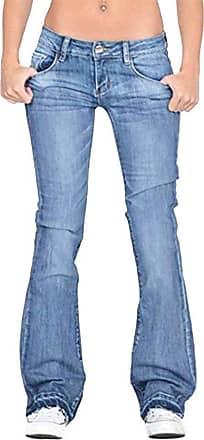 TOMWELL Women Skinny Solid Color Pants Slim Denim Jeans Trousers Stretch Butt Lifting Flared Denim Pants A Blue 41W/42L