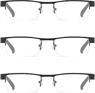 Inlefen Unisex 3 Pack half border reading glasses metal frame plastic lens 1.0 1.5 2.0 2.5 3.0 3.5 4.0